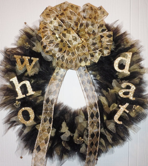 New Orleans Saints Who Dat Wreath by UniquelyNormalCrafts on Etsy, $50.00