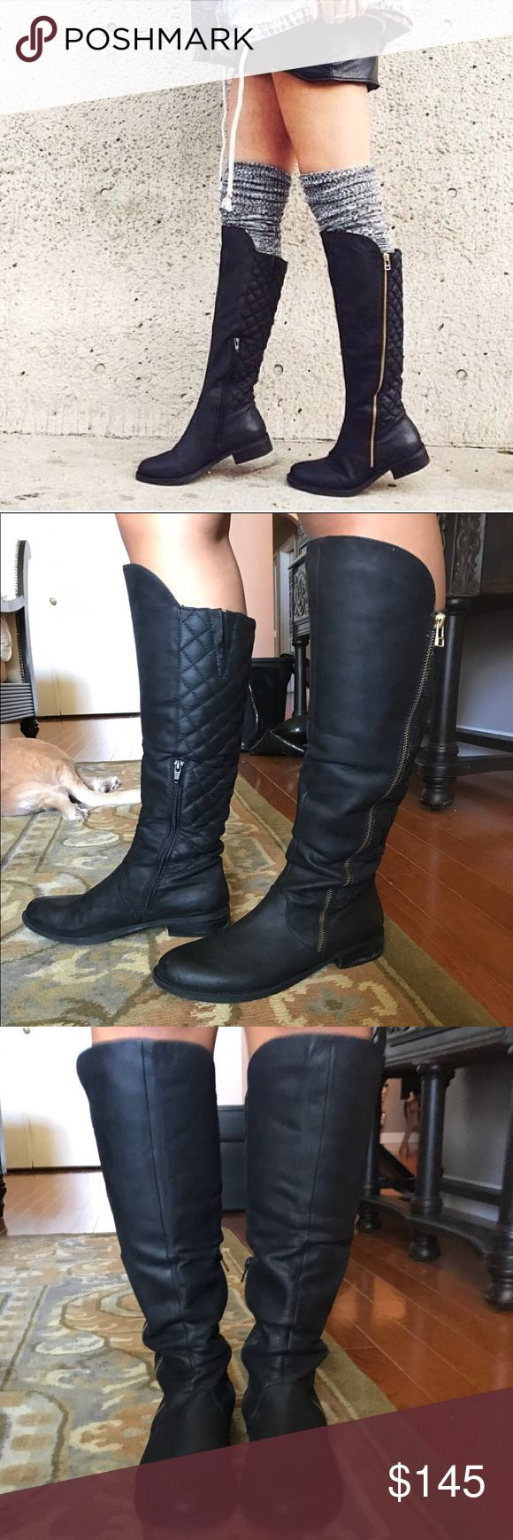 Steve Madden Quilted Black Motorcycle Riding Boots Lightly worn gorgeous tall black boots. Runs small. I am typically a 7/ 7 1/2 and these fit well. Price negotiable Steve Madden Shoes Over the Knee Boots
