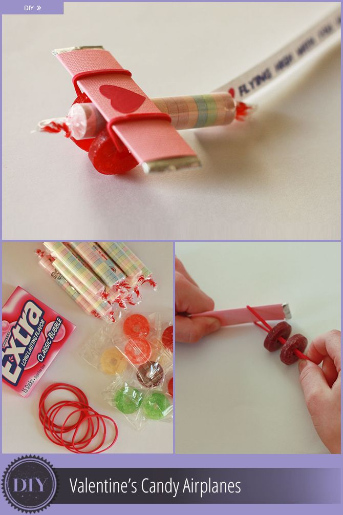 """Didn't you just love exchanging valentines when you were a child? It's fun to watch my kids get excited about it now too  Lifesavers candy ($1.97)  Pack of chewing gum sticks ($1.08)  Smarties candy ($0.50)  Cardstock  Rubber bands  Tape  Valentine message  Total cost for 15 airplanes $3.55 or $0.24 each  Di  Start by wrapping a piece of cardstock (2 x 2 1/2"""") around each piece of gum and tape in place  Take two Lifesavers and slip the rubber band through the holes and then up and over the…"""