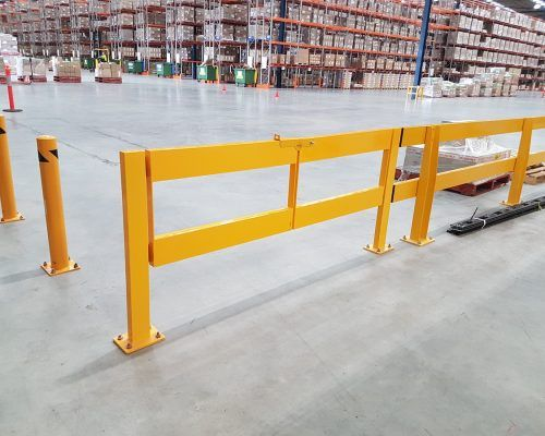 Verge safety barriers  Bollards and double swing gate