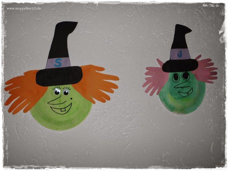 moppeline123: {Halloween- Bastelei} Pappteller Geister und Hexen