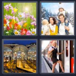 4 Fotos 1 Palabra Flores, Familia, Mujer Subiendo Al Tren - Soluciones 8 Letras