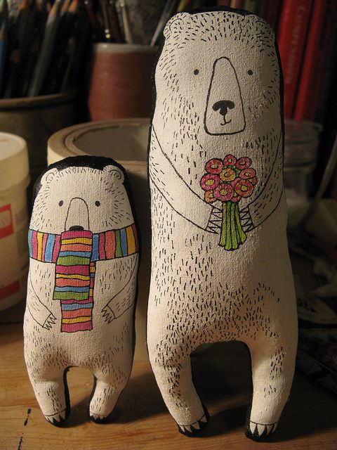 Little Bear and Big Bear cool plushie toy gifts screenprint or fabric paint drawing for the character great for christmas