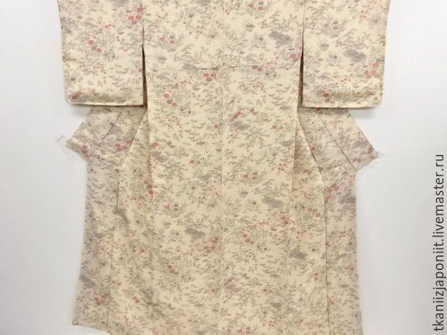 """Купить Японское кимоно Креп """"Минки"""" - бежевый, японское кимоно, японское шелковое кимоно"""