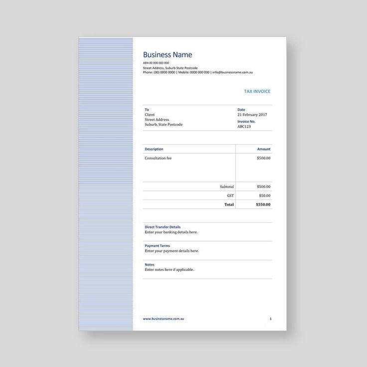 Basic Word invoice template for sale.