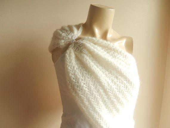 Crochet   Bridal Cape /Ivory Wedding Wrap Shrug by dreamhouse1