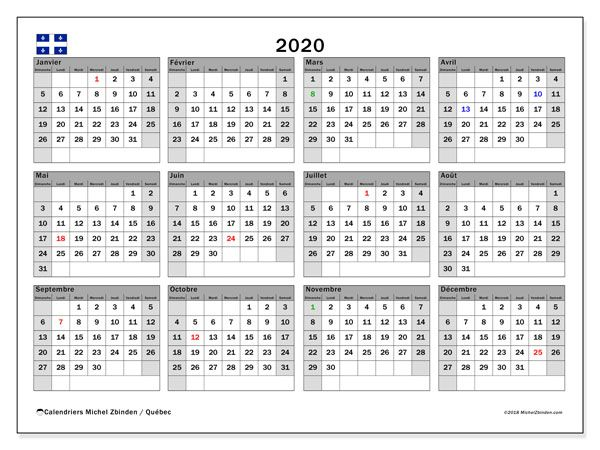 Calendrier 2020 Vectoriel Gratuit.Calendrier 2020 Quebec Canada Calendrier 2018