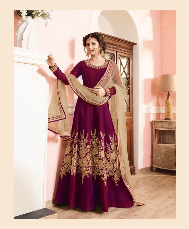 Drashti Dhami Purple Silk Floor Length Anarkali Suit 78526