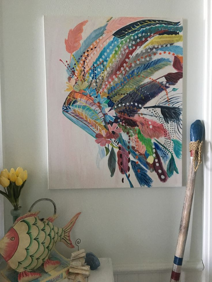 Hung my Indian headdress feathers painting