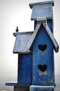 Pretty Blue Birdhouse with cut out Hearts <3