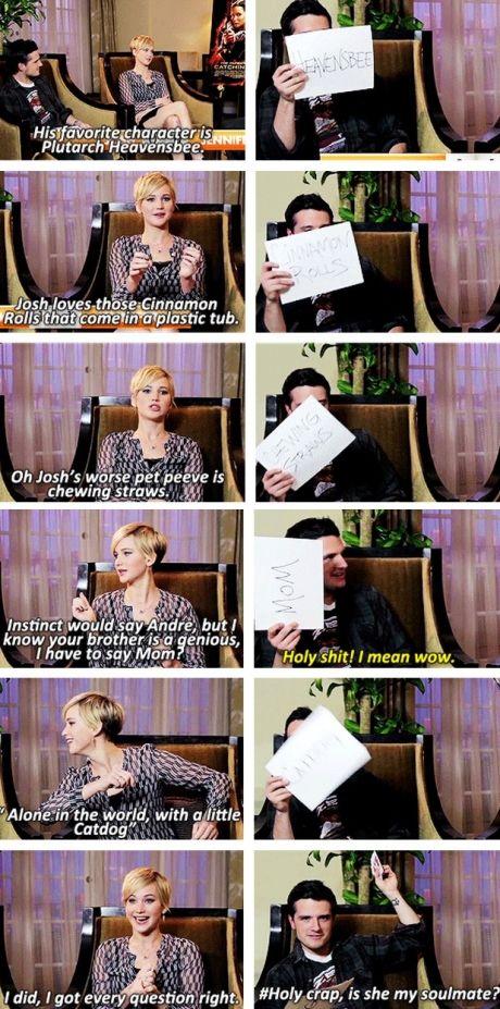 Jennifer Lawrence and Josh Hutcherson are soulmates. hahaha cute