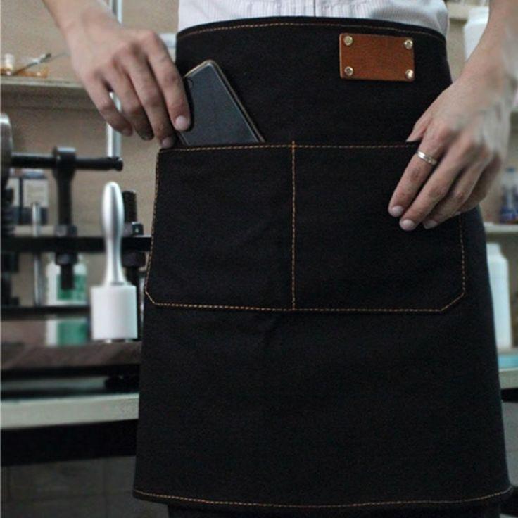 Half Length Canvas/Denim Apron w/Leather Strap Barber Barista Florist Bar Chef Uniform Craft-men Workwear Customized Logo K67