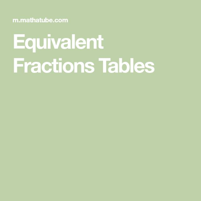 Equivalent Fractions Tables