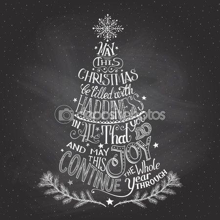 ручная надпись рождественской елки с мелом — Векторная картинка #57097545