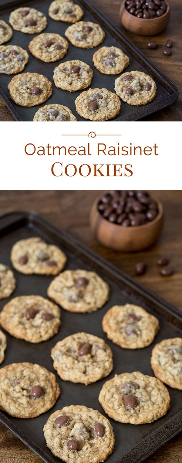 These fun Oatmeal Raisinet Cookies are a classic, chewy, buttery oatmeal cookie with a fun twist. Instead of raisins or chocolate chips, I've used chocolate covered raisins so you get the best of both worlds.