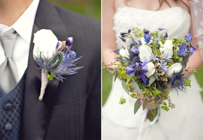 I loved this couple's wedding flowers...so unique with the indigo thistle and wildflowers. love!