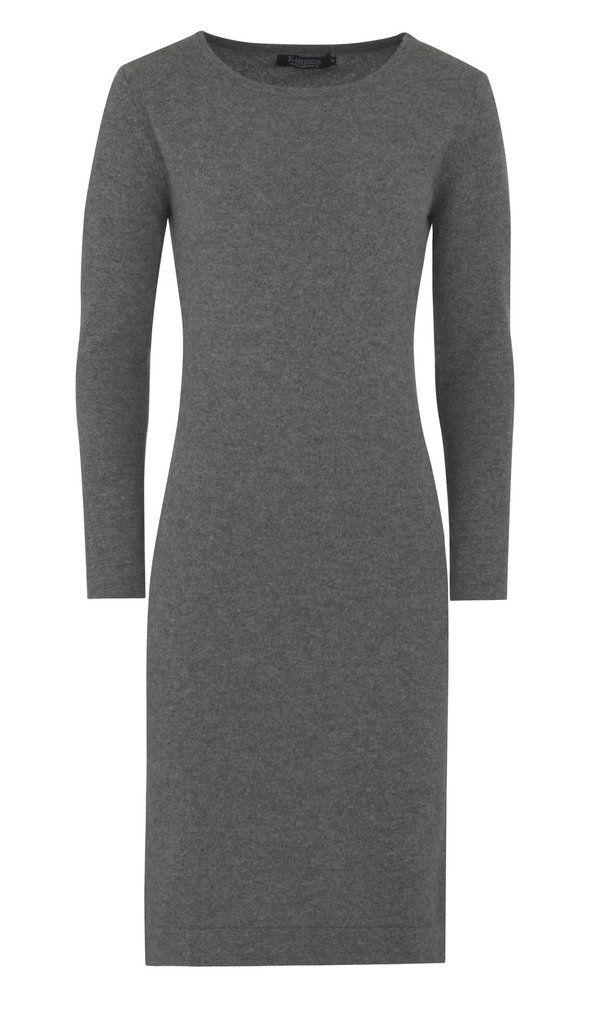 Langermet kashmirkjole - mørk grå #cashmere #cashmere-dress #cashmere-kjole