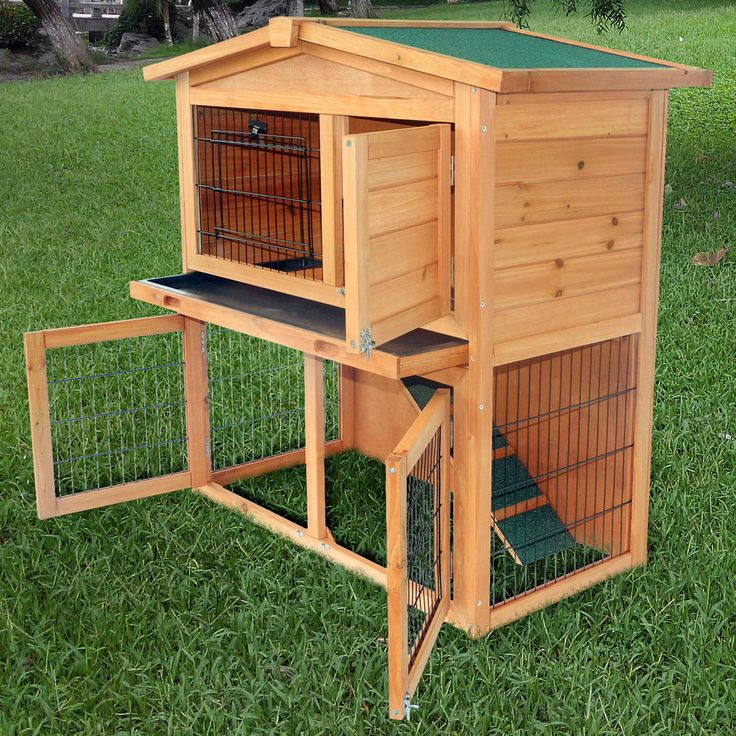 """40""""New A-Frame Wood Wooden Rabbit Hutch Small Animal House Pet Cage Chicken Coop #pawHut"""