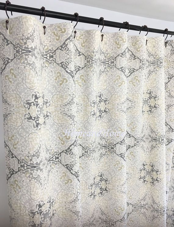 Custom Shower Curtain Medallion Paisley Sand Beige Cream 72 X 84