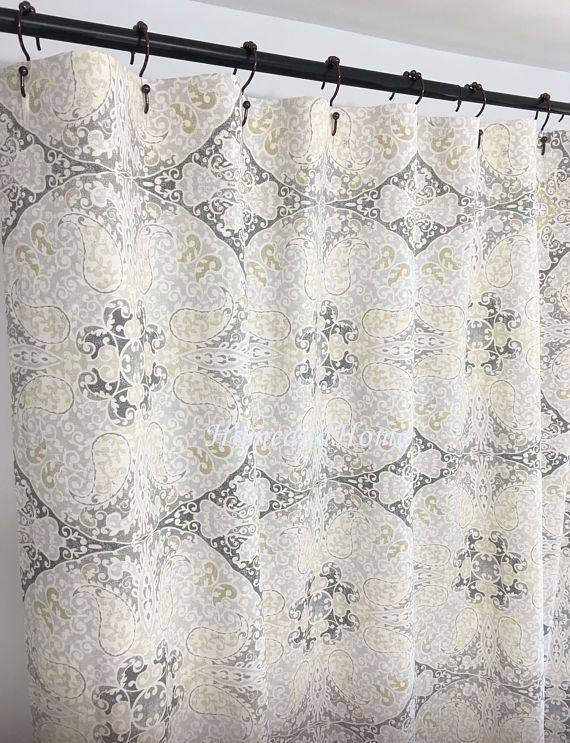 Custom Shower Curtain Medallion Paisley Sand Beige Cream 72 X 84