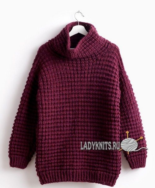 Вязаный спицами модный свитер оверсайз от Bernat