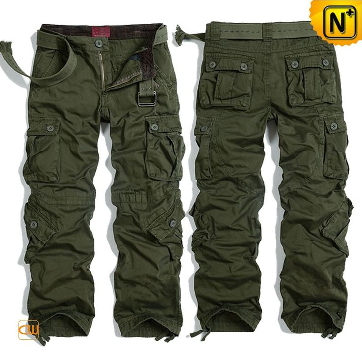CWMALLS® Men's Outdoor Sports Cargo Pants CW100016 - Buy outdoor sports cargo pants for men, made from premium enzyme washed cotton fabric in green color, designed in loose fit style and 8 roomy pockets, awesome for outdoor sports or activities, you can feel the comfort and good quality when touching it.