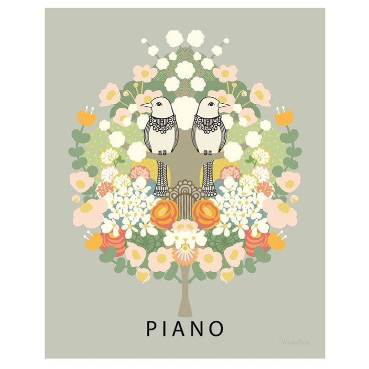 Majvillan ~ Piano poster 50x70 cm - SovrumsShoppen.se