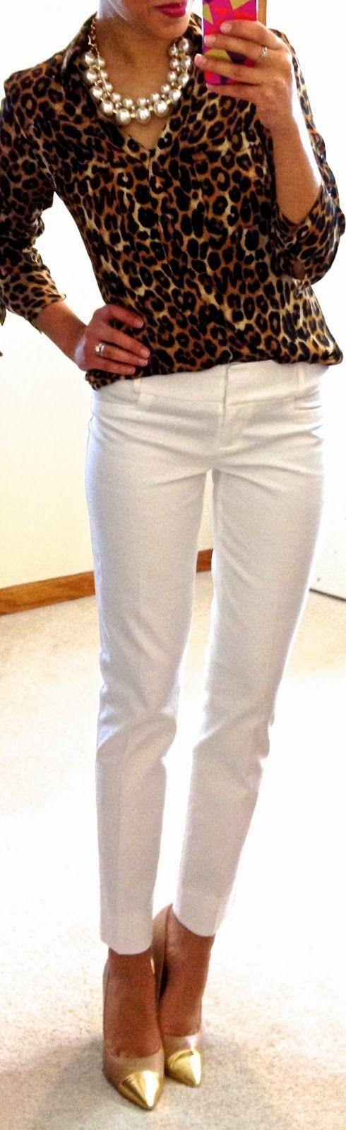 Animal print blouse with basic white pants