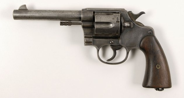 A Colt New Service Model 1909 Double-Action revolver found in the bullet-riddled car driven by Bonnie and Clyde on the day they died. This revolver comes with a Colt Factory letter indicating it was shipped on August 12, 1911, to the US Ordnance Department in Manila, Philippine Islands.: Auction, Bonnie, Bullets Riddles Cars, Clyde Barrow,  Six-Gun, Models 1909,  Six-Shoot, Service Models, Revolver