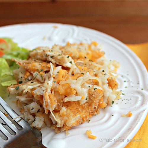 Cheesy Chicken and Rice Casserole - use homemade chicken soup