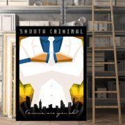 "Tablou ""Smooth Criminal"".  #alb #albastru #arta #mafia #michaeljackson #negru #oras #urban #portocaliu #smoothcriminal #tablou #poster #tablouri #tablouricanvas"