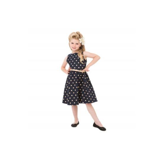 Lindy Bop Mini Audrey Navy Polka I docela malé slečny chtějí být krásné a co nejvíce se podobat své mamince. Mini kopie dámských retro šatů ve stylu 50. let vhodné na svatbu, dětskou párty, letní dny, narozeninové focení nebo Vánoce. Tmavě modré s mocca puntíkem, příjemná strečová bavlna, Mocca pásek součástí.