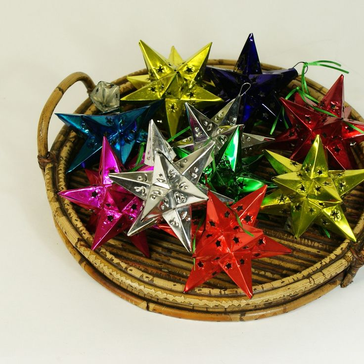 12 Points Mexican Tin Star Christmas Ornament, Painted
