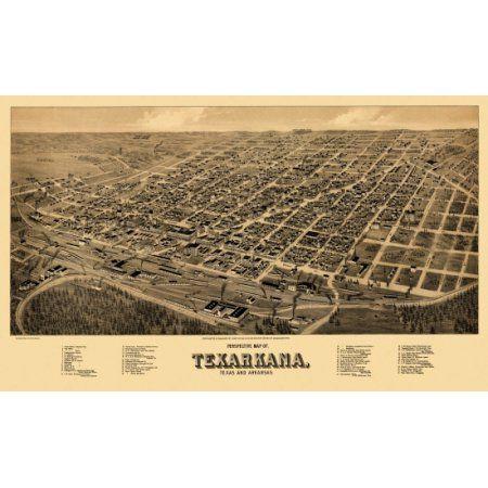 Old Map of Texarkana Texas 1888 Bowie County Canvas Art - (36 x 54)