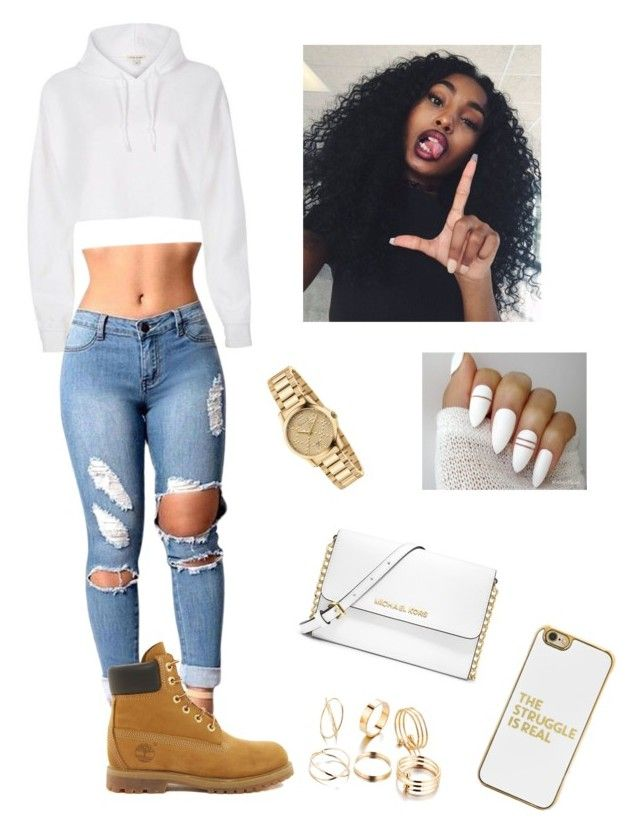 White and gold with timberlands  by diva-ab on Polyvore featuring polyvore, moda, style, Timberland, MICHAEL Michael Kors, Gucci, BaubleBar, River Island, fashion and clothing