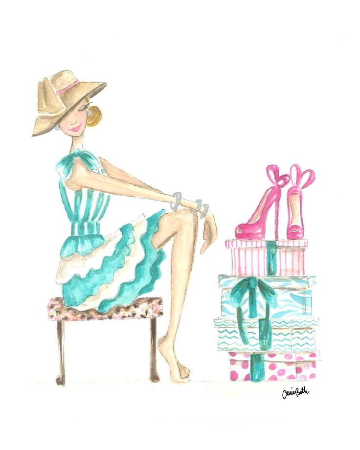 Shoezie Q Shopping Girl Print  Artist Carrie Beth Taylor   carriebethtaylor.com