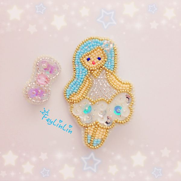 #Embroidery #beads #Kawaii #cute #brooch #princess #брошь #вышивка #бисер #принцесса #ビーズ刺繍
