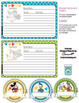 Disney Printable Recipe Cards & Cupcake Toppers