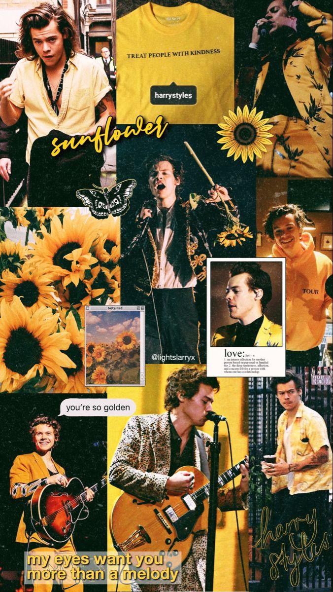 lockscreen iphone harry styles sunflower yellow fine line