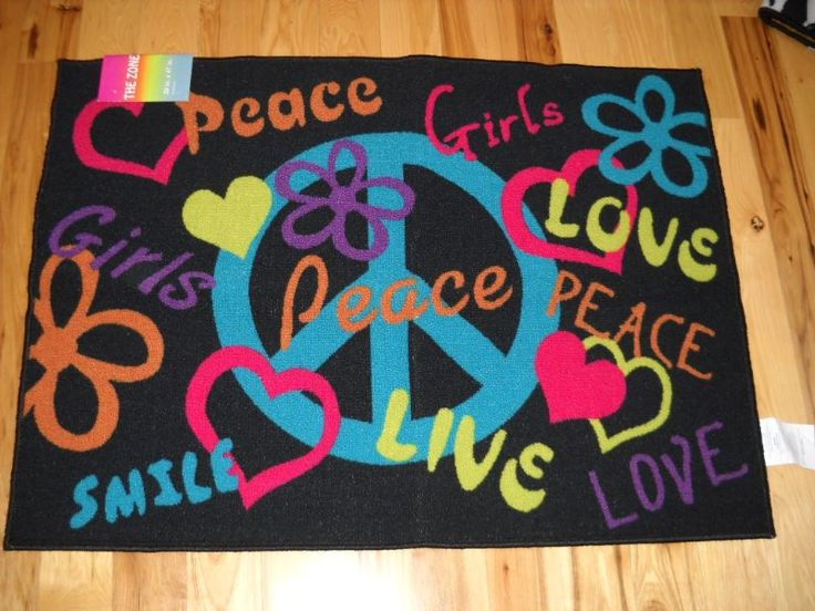 Girls Bedroom Decor Peace Signs Live Laugh Love Throw Rug
