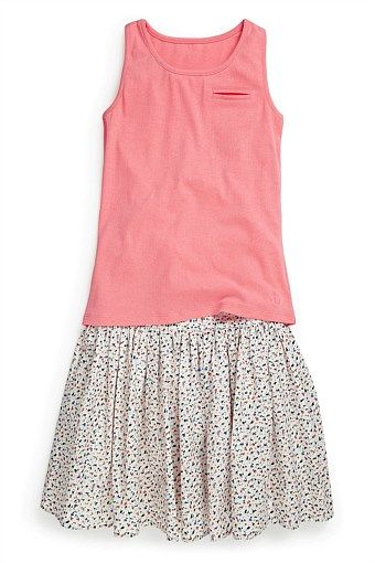 Girls Clothing Online - 3 to 16 years - Next Vest And All-Over-Print Navy Skirt Set (3-16yrs)