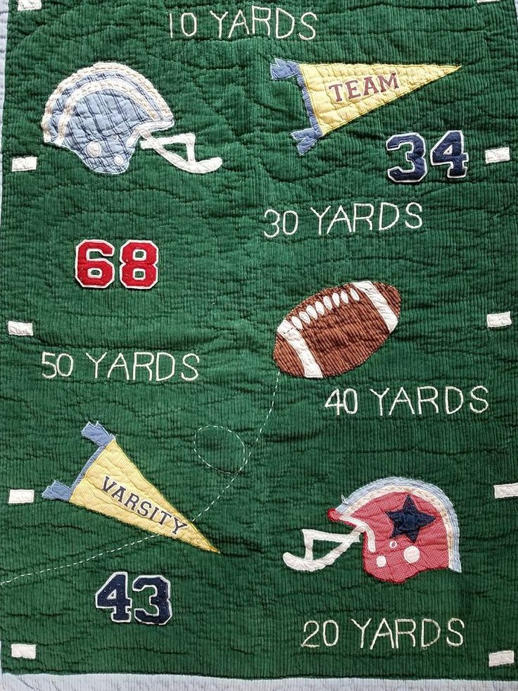 pottery barn kids mvp football toddler crib blanket quilted corduroy blue green - Beste Wohnzimmerzubehor