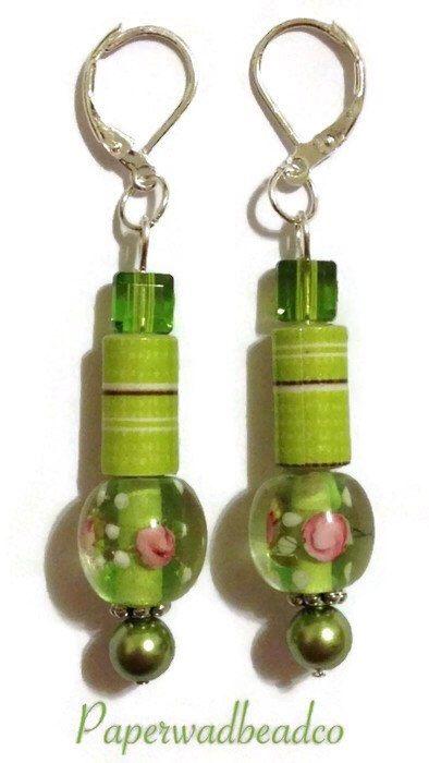 Lime Green Paper Bead Earrings, Paper Bead Jewelry by PaperwadBeadCompany on Etsy https://www.etsy.com/listing/219235833/lime-green-paper-bead-earrings-paper