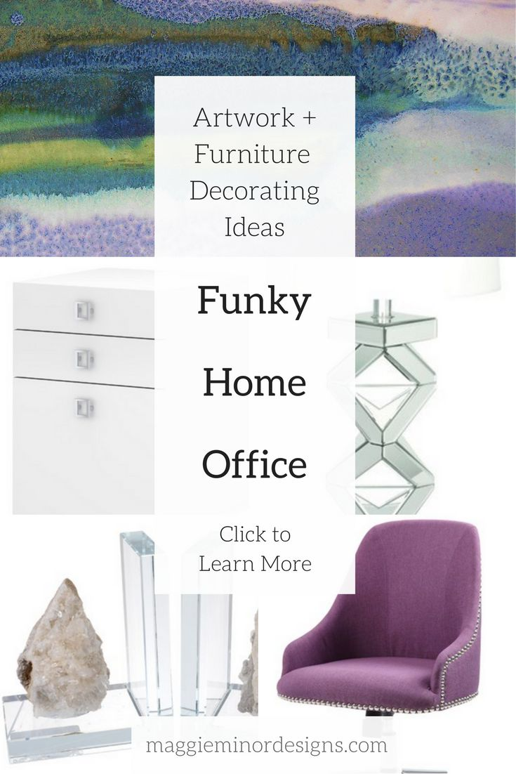 How to create a funky feminine modern home office with abstract landscape artwork | large oversized abstract purple blue white green canvas print | clear glass table lamp | crystal bookends | purple swivel chair | white sleek clean desk | ladyboss | girlboss | decorating ideas | contemporary residential interior design ideas