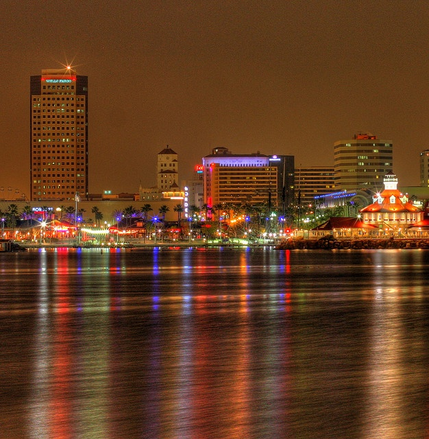 Downtown Long Beach, California, from deck of Queen Mary Hotel