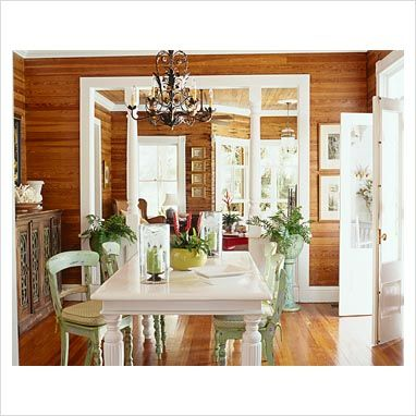 wood paneling white trim. Use of color.