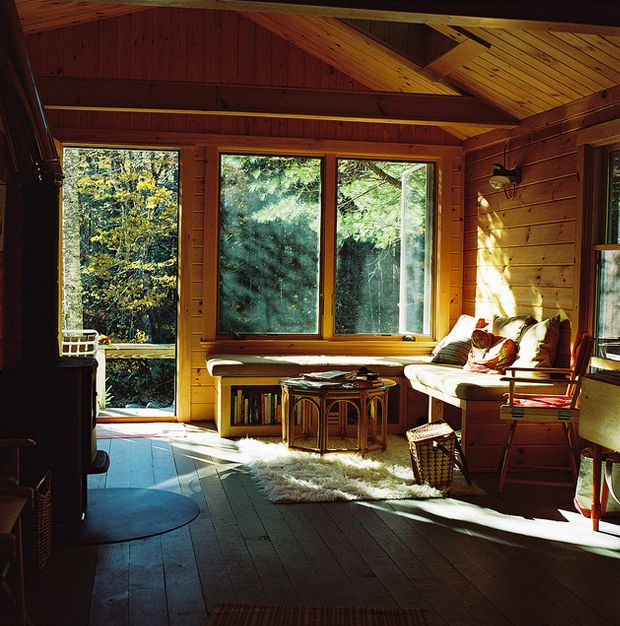 A. William FrederickLights, Big Windows, Future House, Dreams House, Living Room, Cabin Interiors, Places, Cabin Fever, Sun Room