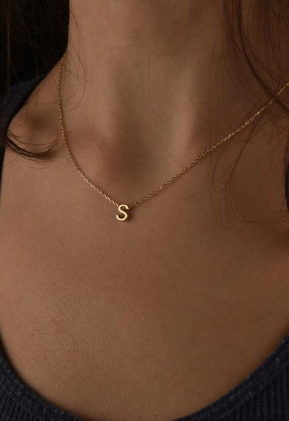 14k Solid Gold Tiny Necklace Initial Gold Necklace Gold Letter Necklace Personalized Gold Jewelry Letter Necklace Dainty Gold Necklace Initial Necklace Gold Tiny Necklace Personalized Gold Jewelry