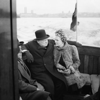 Horton (Cpt) -- Winston Churchill and his wife, Clementine, on board a naval auxiliary patrol vessel during a visit to the London docks, 25 September 1940.