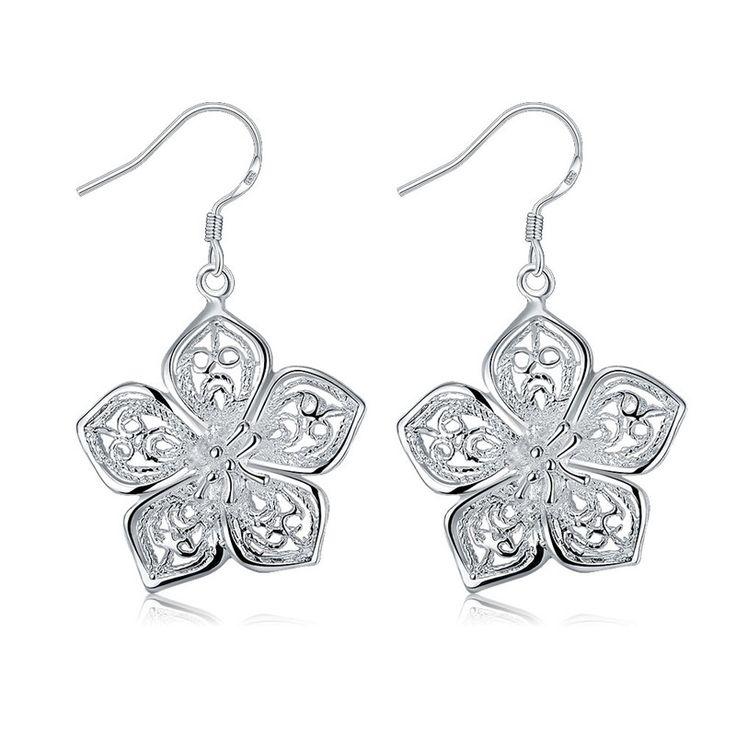 New Fashion Silver Ladies' Filigree Special,Fashion,Heart Pandant Droop Wire Earrings.925 silver earrings.